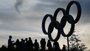 Im Zeichen der Spiele: Olympische Ringe in London © dpa - Bildfunk Fotograf: Christian Charisius