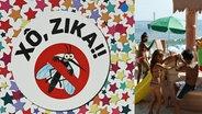 Ein Plakat am Strand von Rio warnt vor dem Zika-Virus. © picture alliance / dpa
